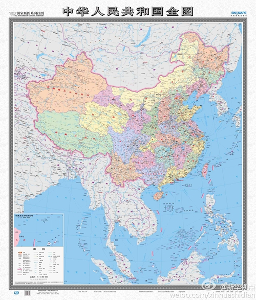 中国地图无边框